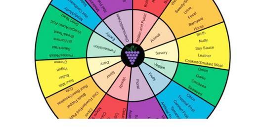 The completed aroma wheel using descriptors for Brettanomyces in synthetic wine and determined by a trained panel of judges.